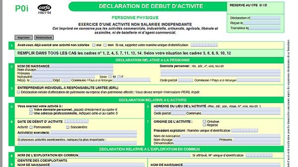 déclaration d'activité CERFA 11921 04