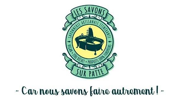 """Jérôme et ses """"Savons Sur Patte"""" végans et zéro déchet. Logo savons sur patte"""